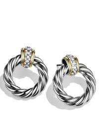 David Yurman | Metallic Metro Earrings With Diamonds And Gold | Lyst