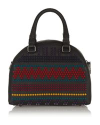 Christian Louboutin - Black Panettone Small Spiked Textured-Leather Tote - Lyst
