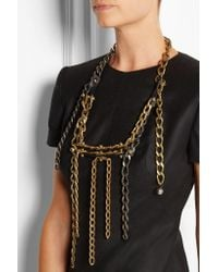 Lanvin - Metallic Gold-tone, Leather And Swarovski Crystal Necklace - Lyst