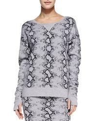 Pam & Gela - Black Snake-print Knit Sweater - Lyst