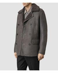 AllSaints - Gray Wythe Shearling Pea Coat for Men - Lyst