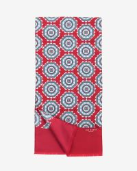 Ted Baker - Red Tile Print Silk Scarf for Men - Lyst