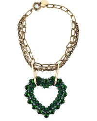 Lanvin | Green Crystal Embellished Heart Pendant Necklace | Lyst