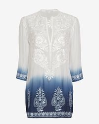 Marie France Van Damme - White Embroidered Ombre Tunic - Lyst