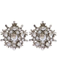 Oscar de la Renta - White Gold-plated Crystal Earrings - Lyst