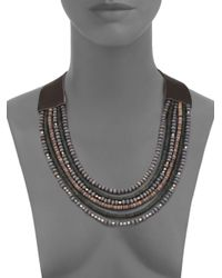 Peserico - Blue Mixed Bead & Leather Necklace - Lyst