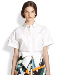 MSGM - White Cropped Bow Blouse - Lyst