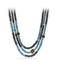 David Yurman | Blue Dy Signature Bead Necklace With 18k Gold | Lyst
