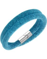 Swarovski | Blue Palladium-plated Double Wrap Bracelet | Lyst