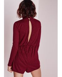 Missguided - Purple Ribbed Long Sleeve Playsuit Burgundy - Lyst