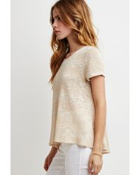 Forever 21 | Natural Crochet-paneled Loose Knit Top | Lyst