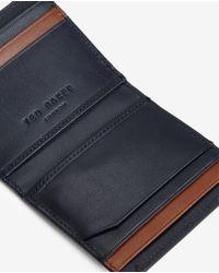 Ted Baker   Brown Striped Leather Bi-fold Wallet for Men   Lyst