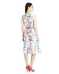 Oscar de la Renta | Purple English Garden Print Mikado Dress | Lyst
