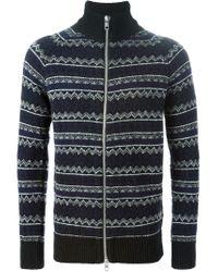 Diesel Black Gold - Blue Intarsia Knit Roll Neck Cardigan for Men - Lyst