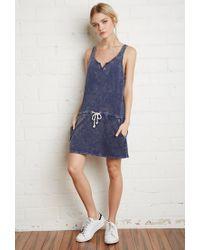 Forever 21 - Blue Drawstring Mineral Wash Dress - Lyst