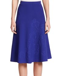 ESCADA | Blue Embossed Flower Knit Skirt | Lyst