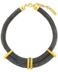 Vince Camuto - Black Twotone Large Mesh Chain Collar Necklace - Lyst