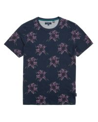 Ted Baker | Blue Mintell All Overfloral Crew Neck T-Shirt for Men | Lyst