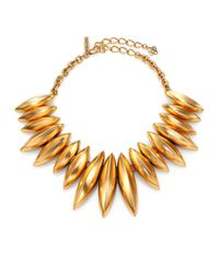 Oscar de la Renta - Metallic Navette Disc Necklace - Lyst