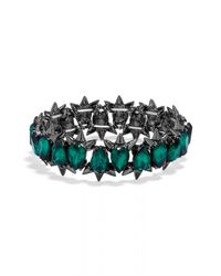 BaubleBar - Green Crystal Spike Stretch Bracelet - Lyst