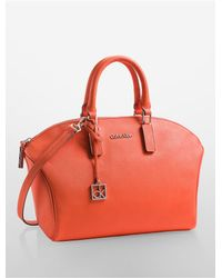 Calvin Klein | Orange White Label Scarlett Saffiano Leather City Dome Satchel | Lyst
