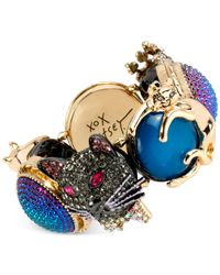 Betsey Johnson - Multicolor Two-tone Cat And Skull Glitter Stretch Bracelet - Lyst