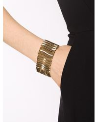 Rebecca - Metallic Wavy Flat Bracelet With Crystals - Lyst