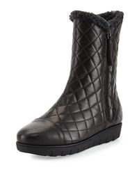Aquatalia | Black Wisdom Quilted Leather Boot | Lyst
