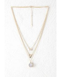 Forever 21 | Metallic Rhinestone Layered Chain Necklace | Lyst