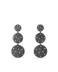 David Yurman | Metallic Cable Coil Triple-drop Earrings With Diamonds | Lyst