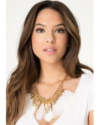 Bebe - Metallic Fringe & Feather Necklace - Lyst