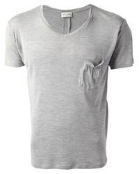 Saint Laurent   Gray Vneck Tshirt for Men   Lyst