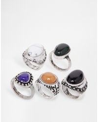 ASOS | Multicolor Multipack Stone Rings | Lyst