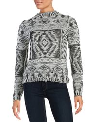 Vero Moda - Black Patterned Knit Sweater - Lyst