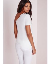 Missguided | Asymmetric One Shoulder Top White | Lyst