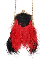 Alexander McQueen - Red Faux Ostrich Feather Shoulder Bag - Lyst