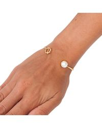 Leivan Kash - Metallic Gol Pearl Open Bangle Gold - Lyst