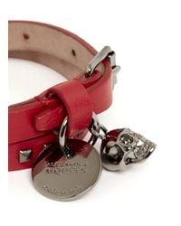 Alexander McQueen | Red Double-wrap Mini Stud Leather Bracelet | Lyst