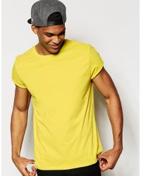 ASOS - Yellow T-shirt With Crew Neck In Relaxed Skater Fit And Roll Sleeve for Men - Lyst