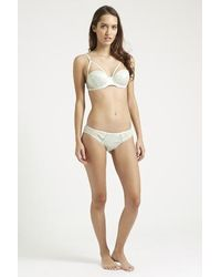 TOPSHOP - Green Satin And Mesh Balconette Bra - Lyst
