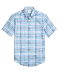 Brooks Brothers | Blue Madison Fit Plaid Linen Short-sleeve Sport Shirt for Men | Lyst