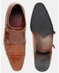 ASOS - Brown Double Monk Shoes In Leather for Men - Lyst