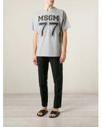 MSGM - Gray Logo-Print T-Shirt for Men - Lyst