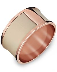 Calvin Klein - Pink Rose Gold-tone Pvd Stainless Steel Nude Leather Bangle Bracelet - Lyst