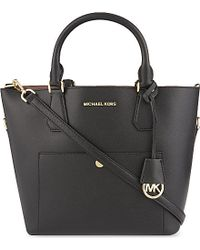 MICHAEL Michael Kors | Black Greenwich Large Saffiano Leather Tote | Lyst
