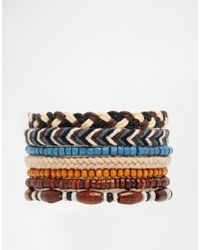 ASOS - Brown Bracelet Pack With Beads And Leather for Men - Lyst