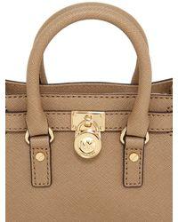 MICHAEL Michael Kors | Natural Mini Hamilton Saffiano Leather Bag | Lyst