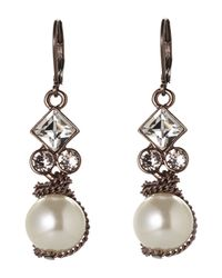 Givenchy | White Rose Gold-Tone Accented Faux Pearl Earrings | Lyst