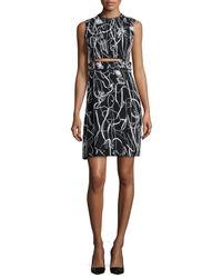Jason Wu - Black Sleeveless Scribble-print Crepe Dress - Lyst