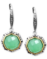 Judith Jack | Green 14K Gold Over Sterling Silver Apple Chalcedony (4-4/5 Ct. T.W.) And Marcasite (1-3/5 Ct. T.W.) Drop Earrings | Lyst